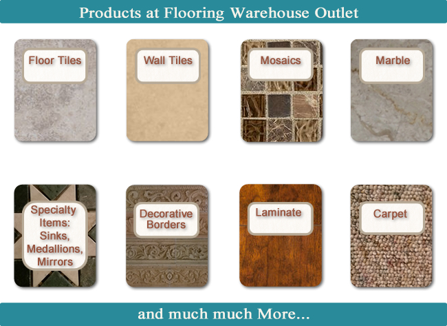 Products: Ceramic Floor Tile and others, Ceramic Wall Tile and other types, Laminate Flooring, Porcelain, Mosaics, Marble, Carpet,  Specialty Items such as: Sinks, Medallions, Mirrors and other flooring products.